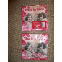 Serviettes en papier décor rétro fillettes thé à la rose Orval