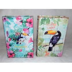"""Boite faux livre en bois décor toucan et inscription """"summer"""" modèle aléatoire"""