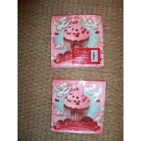 Serviettes en papier décor rétro cupcake hymne à la gourmandise Orval