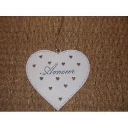 Coeur métal blanc ajouré Amour Antic line
