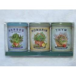 Coffret Aromates de Provence 3 boites métal décoratives Nova botanica