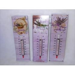 Thermomètre métal mauve décor provençal lavande