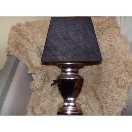 Lampe pied céramique chrome et abat jour rectangle noir lampe moderne