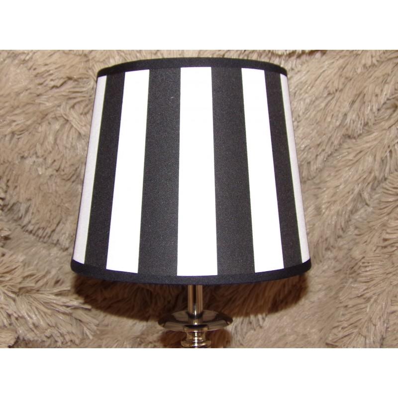 Lampe Moderne Pied Chrome Abat Jour Larges Rayures Blanc Et Noir