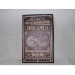 """Boite faux livre en bois décor mappemonde et inscription """"Navigate"""" GM"""