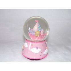 Boule musicale boule à paillettes rose, voilier animaux sauvages ref 14285