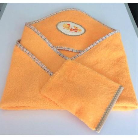 Cape de bain en éponge orange décor coccinelle+ gant assorti fait main.