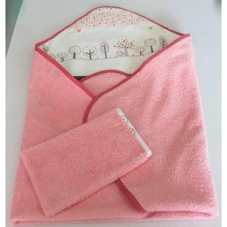 Cape de bain en éponge rose décor bucolique+ gant assorti fait main.