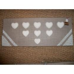 Toile en lin décor coeurs blancs en plâtre fabrication artisanale