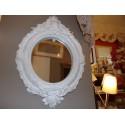 Miroir forme ovale résine blanc style baroque