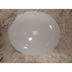 Plat de présentation ovale taupe décor blanc en relief Amadeus